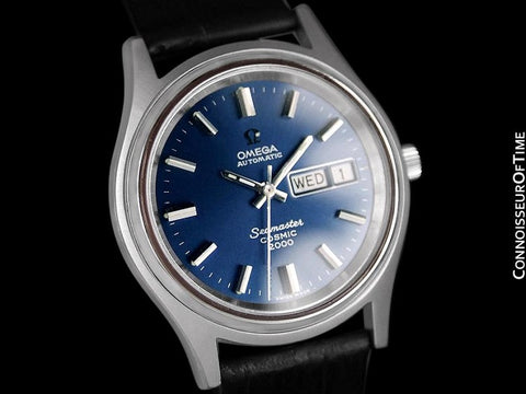 1970's Omega Seamaster Cosmic 2000 Vintage Retro Mens Dive Watch, Day Date - Stainless Steel