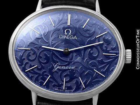 1974 Omega Geneve Vintage Ladies Handwound Beautiful Floral Dial Full Size Dress Watch - Stainless Steel