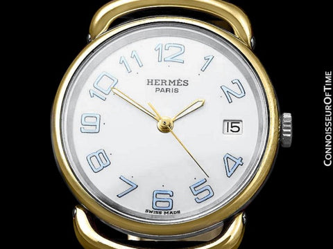 Hermes Mens Midsize Unisex Pullman Watch - 18K Gold Plated and Stainless Steel