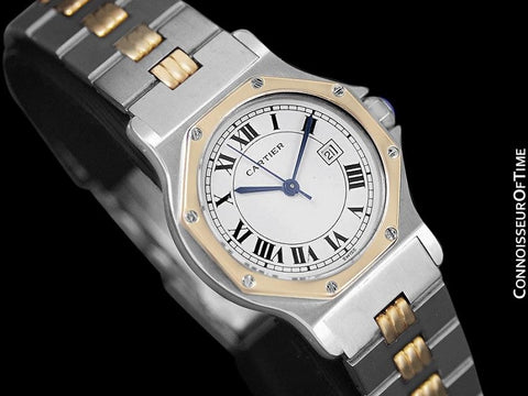 Cartier Santos Octagon Godron Mens Midsize Watch, Automatic - Stainless Steel and 18K Gold