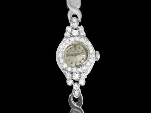 1960's Vintage Ladies Hamilton - 14K White Gold & Diamonds