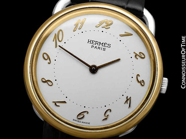 Hermes Midsize Arceau Mens or Large Unisex Watch - 18K Gold Plated and Stainless Steel