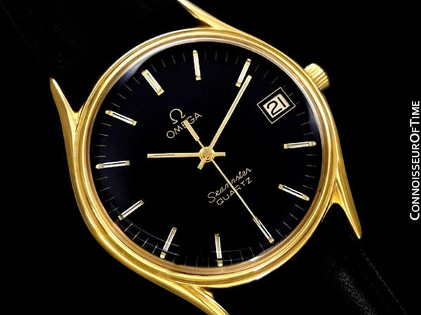 1982 Omega Seamaster Classic Accuset Vintage Mens Quartz Watch - 18K Gold Plated and Stainless Steel