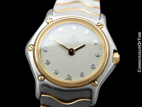 Ebel Classic Wave Ladies Mini Watch - Stainless Steel and 18K Gold with Original Factory Set Ebel Diamonds