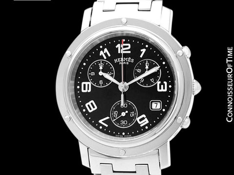 Hermes Clipper Mens Full Size 38mm Chronograph Quartz Watch with Box and Booklet - Stainless Steel