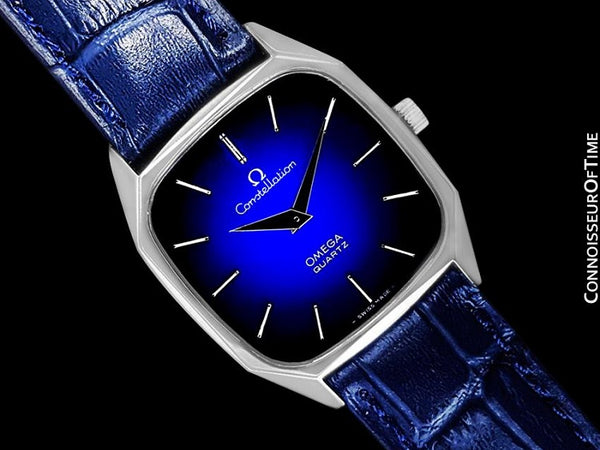 1977 Omega Constellation Mens Quartz Blue Dial Watch, Quick-Setting Hour - Stainless Steel