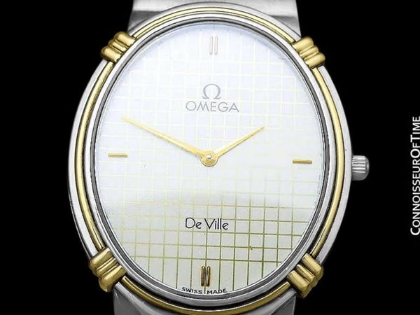 1986 Omega De Ville Vintage Mens Dress Watch - Stainless Steel & 18K Gold