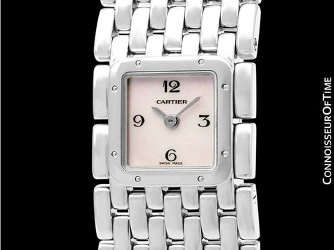Cartier Ruban Ladies Quartz Bracelet Watch with Pink MOP Dial, Ref. 2420 - Stainless Steel