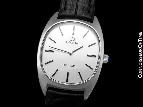 "1979 Omega De Ville Vintage ""Boys"" Unisex or Mens Midsize Retro Ultra Thin Ellipse Watch - Stainless Steel"