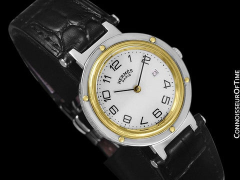 Hermes Midsize Unisex or Larger Ladies Clipper 2-Tone Quartz Watch - Stainless Steel and 18K Gold Plated
