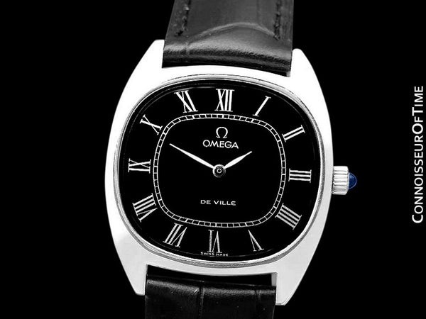 1976 Omega De Ville Vintage Mens Midsize Retro Ultra Thin TV Watch - Stainless Steel