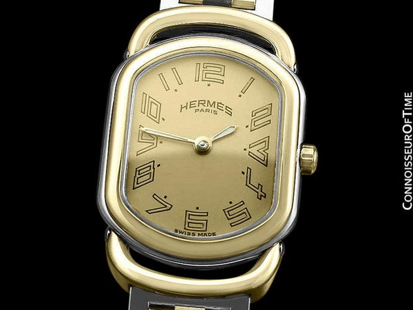 Hermes Rallye Ladies Bracelet Watch - 18K Gold Plated and Stainless Steel