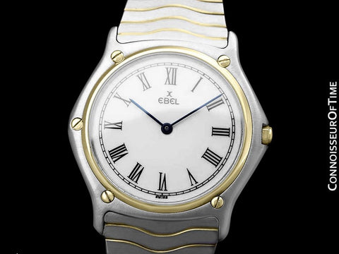 Ebel Classic Wave Full Size Mens Watch with Bracelet - Stainless Steel and 18K Gold
