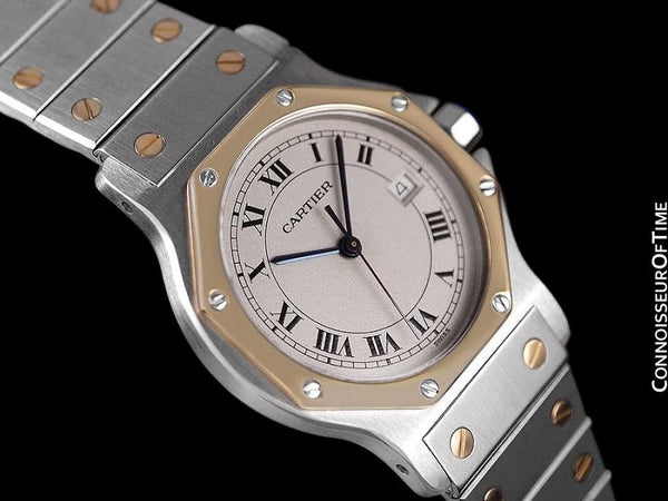 Cartier Santos Octagon Mens (Midsize) Quartz Watch - Stainless Steel and 18K Gold