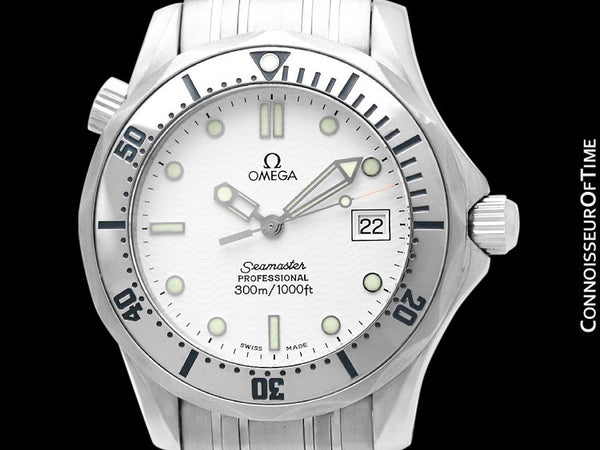 Omega Seamaster Midsize 300M White (James Bond Style) Professional Divers Watch, Stainless Steel - 2562.20.00
