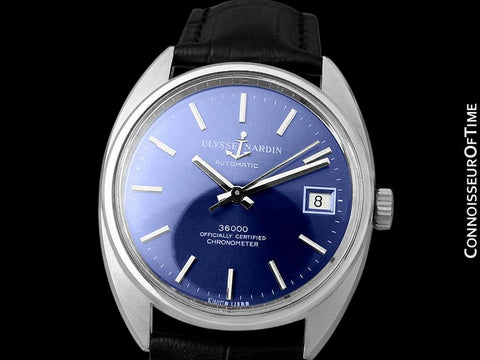 1970's Ulysse Nardin Vintage Mens Automatic 36,000 BPH Watch, Stainless Steel - Officially Certified Chronometer