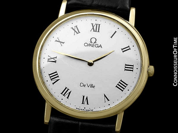 Omega De Ville Mens Midsize Ultra Thin Dress Watch - Near New Old Stock - 18K Gold