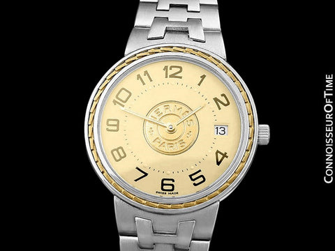 Hermes Sellier Mens Midsize Unisex Watch - Stainless Steel and 18K Gold