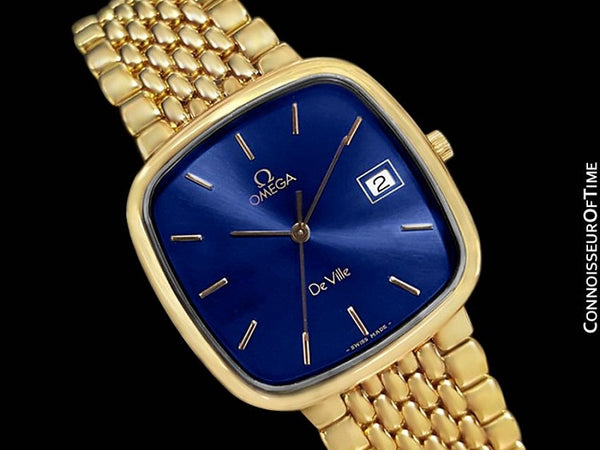 Omega DeVille Midsize Mens Ultra Thin Dress Watch with Bracelet - 18K Gold Plated