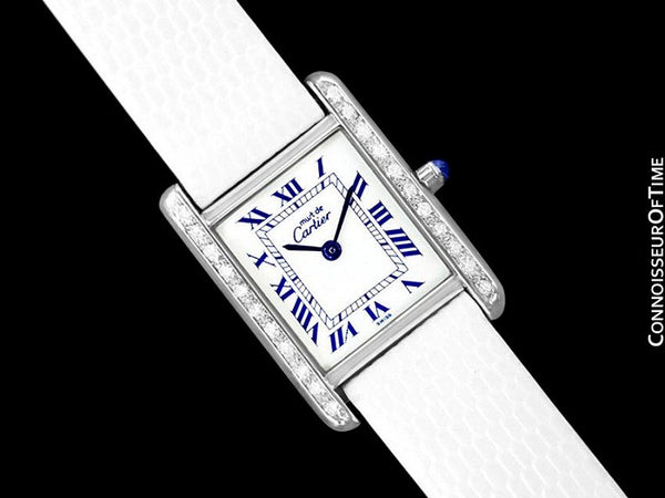 Cartier Vintage Ladies Tank Vermeil Watch - 18K White Gold over Sterling Silver & Diamonds
