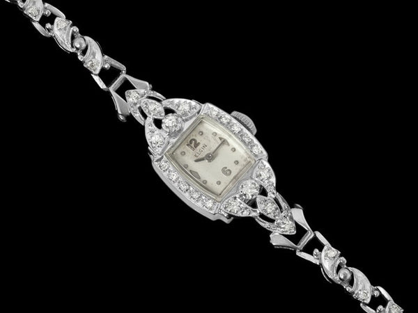 1950's Elgin Vintage Ladies Watch - 14K White Gold & Diamonds