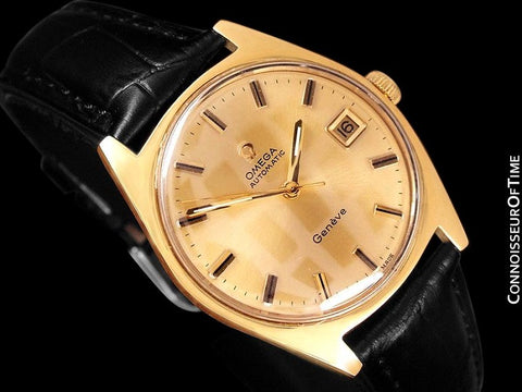 1970 Omega Geneve Vintage Mens Cal. 565 Automatic Watch with Quick-Setting Date - 18K Gold Plated & Stainless Steel