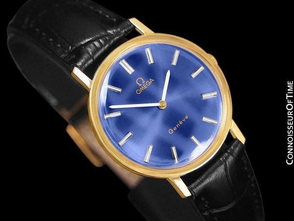 1975 Omega Geneve Vintage Mens Midsize Handwound Watch - 18K Gold Plated Stainless Steel