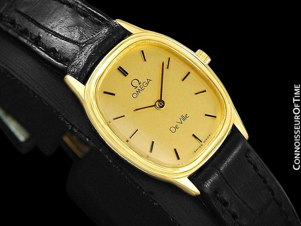 1985 Omega De Ville Vintage Ladies Quartz Watch - 18K Gold Plated & Stainless Steel