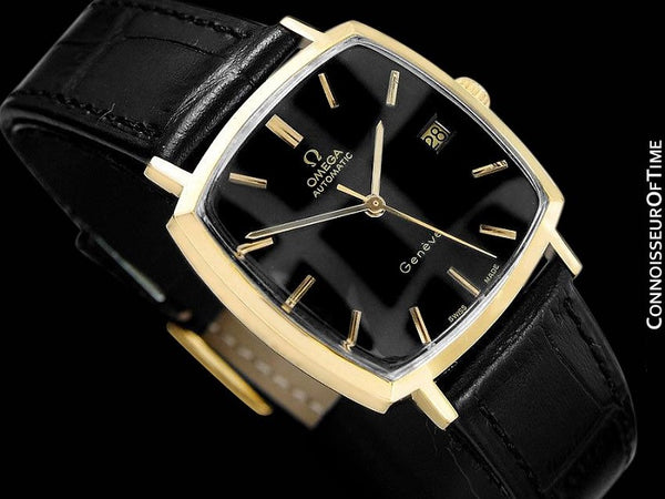 1973 Omega Geneve Vintage Mens Midsize Automatic Watch with Quick-Setting Date - 18K Gold Plated & Stainless Steel
