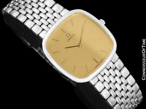 Omega De Ville Mens Unisex Ultra Thin Dress Watch with Bracelet - Stainless Steel