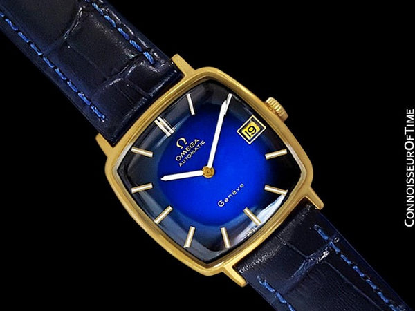 1974 Omega Geneve Vintage Mens Midsize 18K Gold Plated Watch - Mint with Warranty