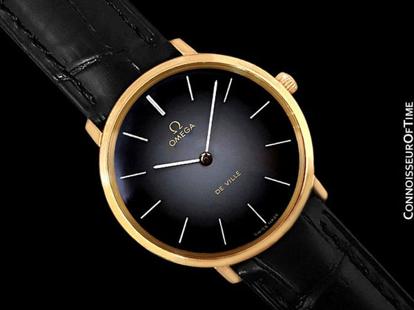1974 Omega De Ville Vintage Mens Handwound Gray Vignette Dial Dress Watch - 18K Gold Plated