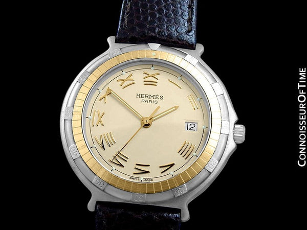 Hermes Mens Full Size Captain Nemo Quartz Divers Watch - Stainless Steel & 18K Gold Plated