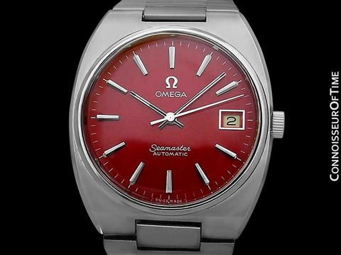 1978 Omega Seamaster Vintage Mens Bracelet Watch, Automatic, Date with Candy Apple Red Dial - Stainless Steel