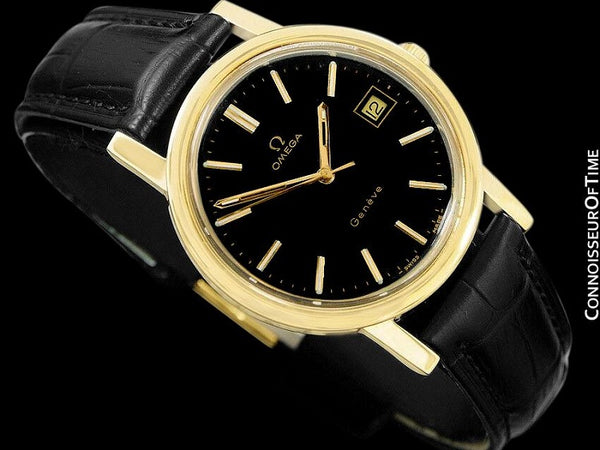 1973 Omega Geneve Vintage Mens Full Size Waterproof Style Watch - 18K Gold Plated & Stainless Steel