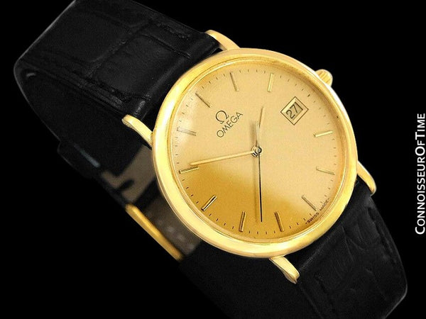 1991 Omega De Ville Mens Midsize Ultra Thin Watch - 18K Gold Plated and Stainless Steel