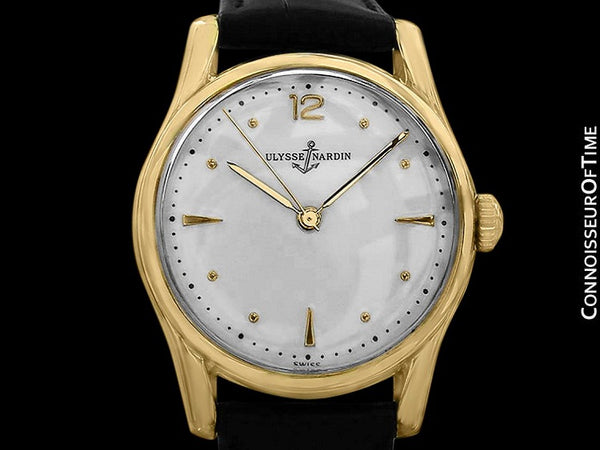 1950's Ulysse Nardin Vintage Chronometer Mens Midsize Dress Watch, Bombe (Bombay) Lugs - 18K Gold Plated