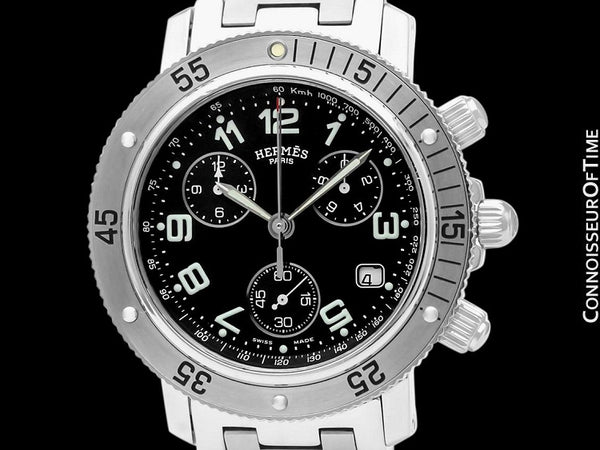 Hermes Mens Clipper Large Size Divers Chronograph Stainless Steel Watch - CL2.910