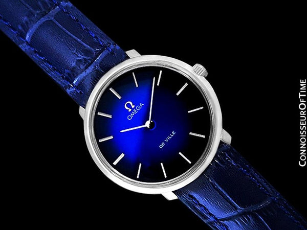 1970 Omega De Ville Vintage Mens Handwound Blue Vignette Dial Watch - Stainless Steel