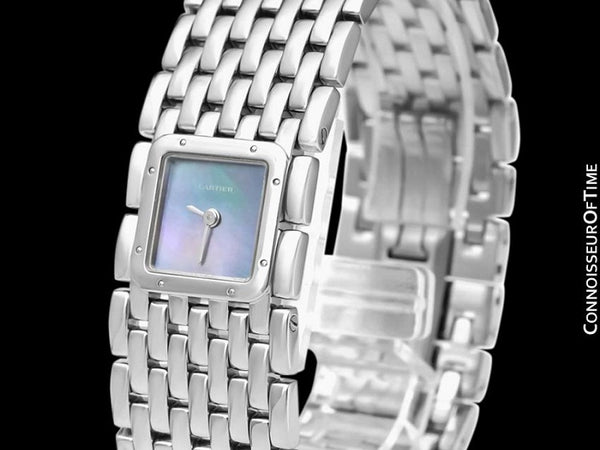 Cartier Ruban Ladies Quartz Bracelet Watch with Blue MOP Dial, Ref. 2420 - Stainless Steel