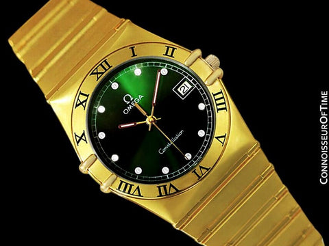 Omega Constellation Mens 35mm Money Green Dial Watch, Quartz, Date - 18K Gold Plated & Diamonds