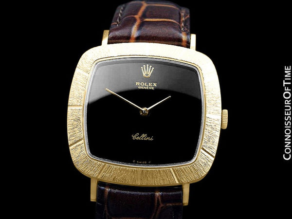 1973 Rolex Cellini Vintage Mens Midsize Handwound TV Watch, Ref. 3805 - 18K Gold