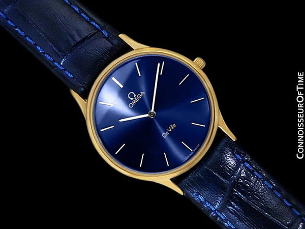 Omega De Ville Mens Thin Quartz Dress Watch with Blue Dial - 18K Gold Plated & Stainless Steel