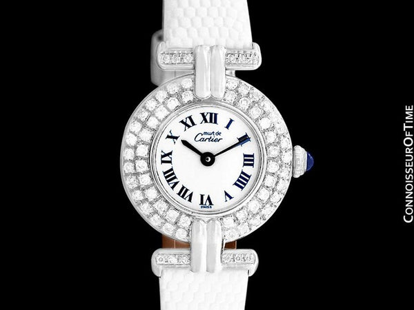 Cartier Colisee Ladies Vendome Vermeil Watch - 18K White Gold over Sterling Silver with Diamonds