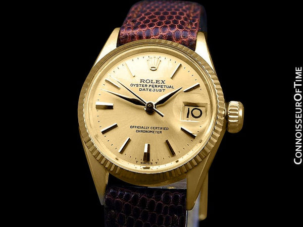 1963 Rolex Datejust (President) Ladies Vintage Watch with Champagne Dial - 18K Gold