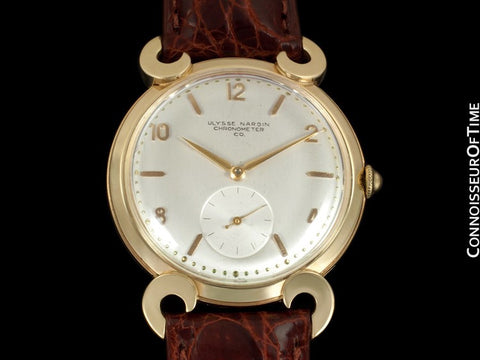 1950's Ulysse Nardin Mens Large Vintage Chronometer Dress Watch - 14K Gold