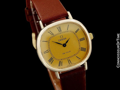 1970's Omega De Ville Vintage Mens Midsize Retro Ultra Thin Watch - 18K Gold Plated & Stainless Steel