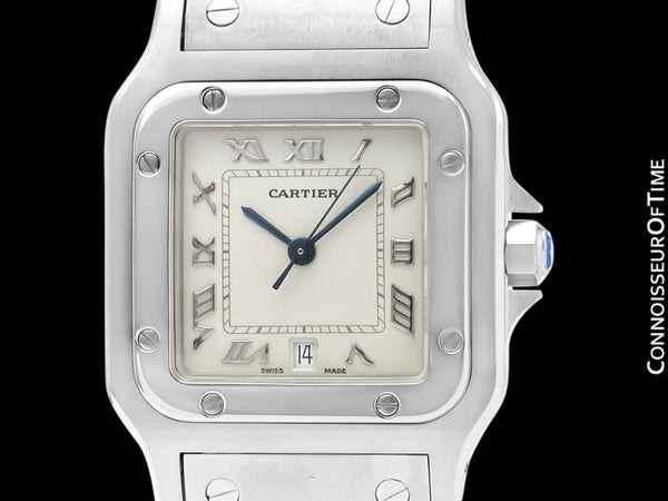 Cartier Santos Galbee Mens Midsize Unisex Watch with Date - Stainless Steel