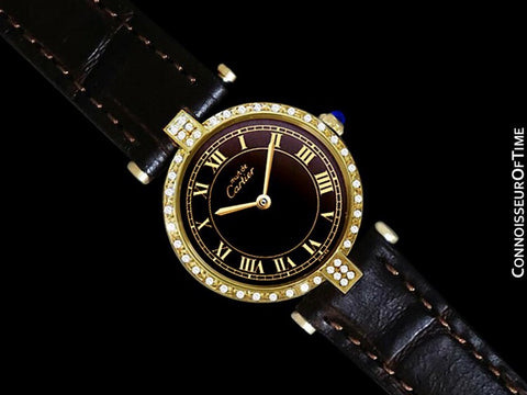 Must De Cartier Vendome Ladies Vermeil Watch with Chocoloate Brown Dial - 18K Gold Over Sterling Silver with Diamonds