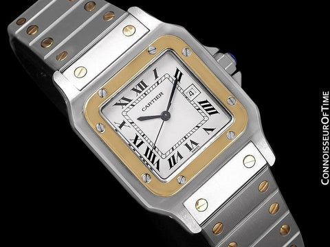 Cartier Mens Santos Two-Tone Automatic Watch - Stainless Steel & 18K Gold